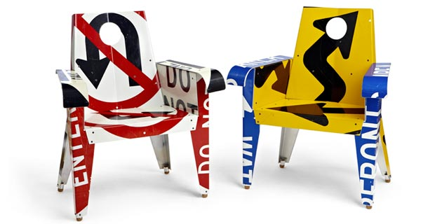 upcycled traffic sign furniture