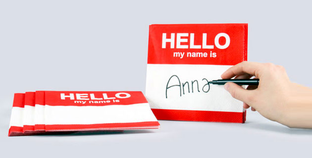 """""""HELLO MY NAME IS""""   TAGGED NAPKINS"""