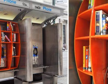Phone booth library in NYC