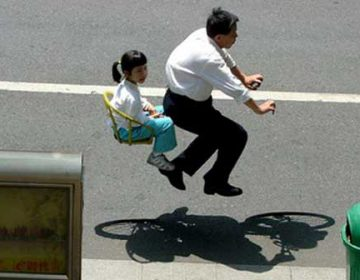 Floating People on Invisible Bicycle