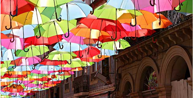 Summer Umbrellas in Águeda, Portugal