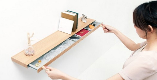 An Invisible Drawer Inside a Floating Shelf