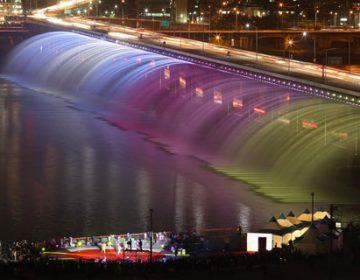 Rainbow Fountain Art Installation
