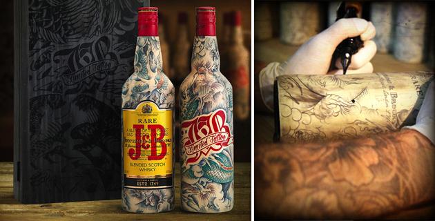 Inked J&B Bottles | Sébastien Mathieu