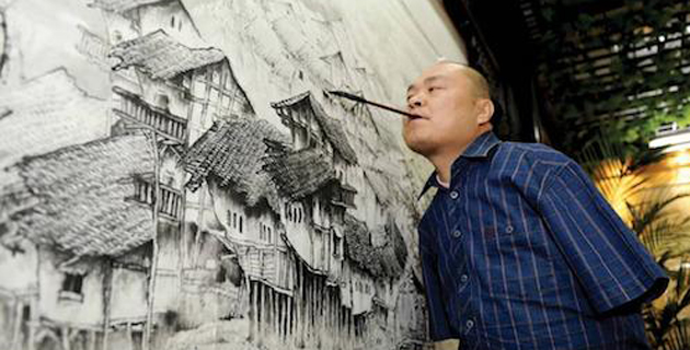 PAINTINGS MADE BY MOUTHS & FEET   Huang Guofu