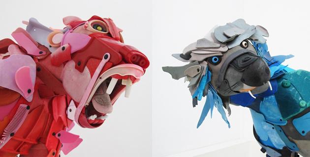 Animal sculptures from beach rubbish | G. Cenazandotti