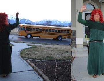 Father Dresses Up and Waves To Son As He Boards School Bus