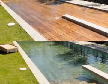 WOODEN DECK TRANSFORMS INTO SWIMMING POOL