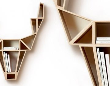 Geometric Deer Head Bookshelf Design