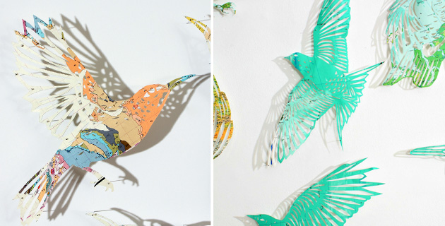 Ethereal paper birds from old maps and atlases | C. Brewster