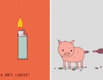 Minimalistic humorous illustrations | J. Haasbroek