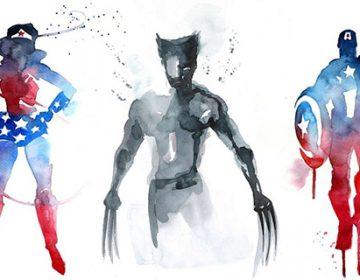 Watercolor Super Heroes   Blule