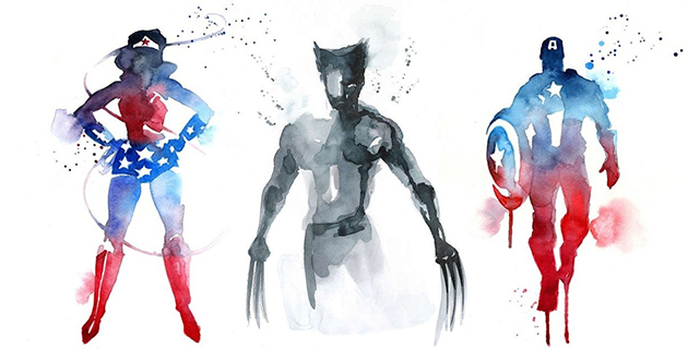 Watercolor Super Heroes | Blule