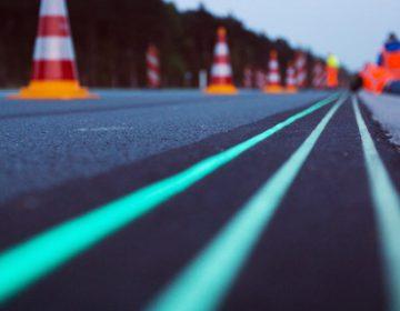 Glow in the dark highway in Netherlands