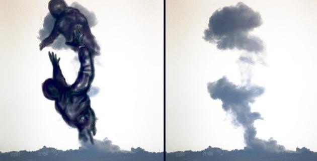 Gaza artist turns Israeli air strike smoke into drawings