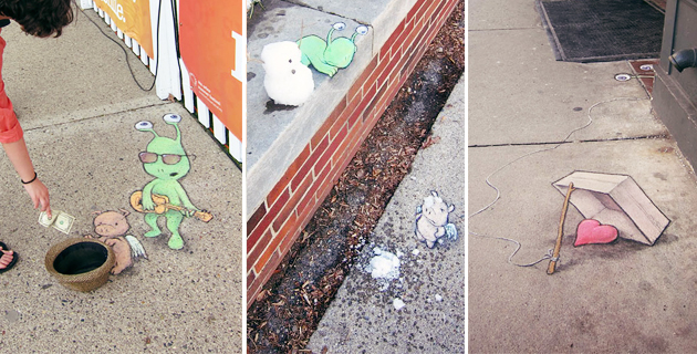 The chalk drawn adventures of Sluggo | David Zinn