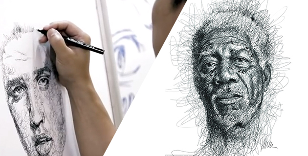 Scribbled stunning portraits of famous dyslexics