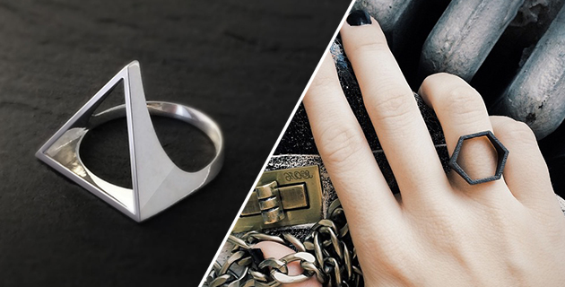 3D Printed Geometric Rings | OBJCTS
