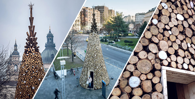 Wooden Christmas Tree in Budapest | Hello Wood