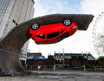 Upside-down car appears on London's Southbank