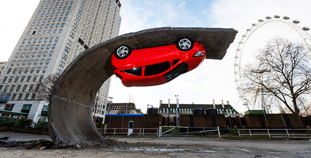 Upside-down car appears on London's Southbank