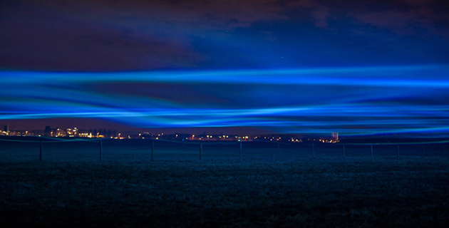"Waterlicht ""Northern Lights"" installation over Dutch flood channel 