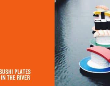 MASSIVE PLATES OF SUSHI FLOATING IN THE RIVER