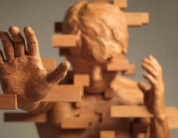 Pixelated Wood Sculptures