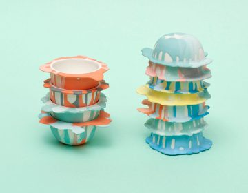 Porcelain bowls designed to look like paint blobs