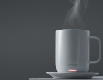 Ember Ceramic Mug keeps coffee at temperature for as long as you want