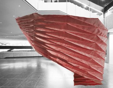 These textile structures translate origami into digital weaving