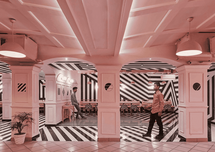 Indian Restaurant With Pink Interiors And Zebra Stripes
