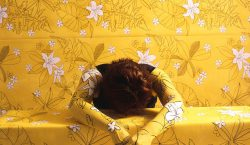 Camouflages Herself Into Floral Wallpaper And Fabric