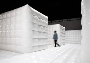 White bouncy house modelled on psychiatric ward for Brooklyn exhibit