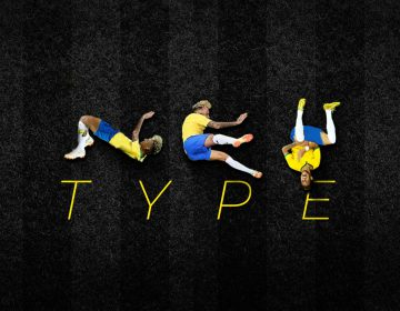 An ecxlusive typography uses poses from Neymar's falls