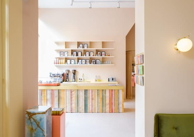 Striking multi-coloured Onyx Bar Becomes Centrepiece For Playful Office, Store, And Café