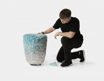 The Veil stool is made from 4000 disposable face masks